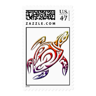 Colorful tribal turtle postage stamp