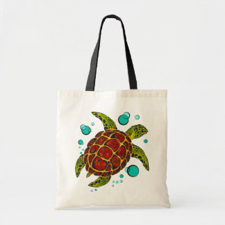 Colorful Tribal Turtle Tattoo Tote Bag