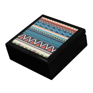 Colorful Tribal Zigzag Cross-Stitch Texture Large Square Gift Box