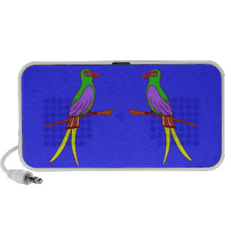Colorful tropical bird on royal blue background portable speaker