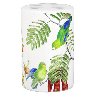 Colorful Tropical Birds Wildlife Animal Bath Set