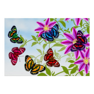 Colorful Tropical Butterflies Poster