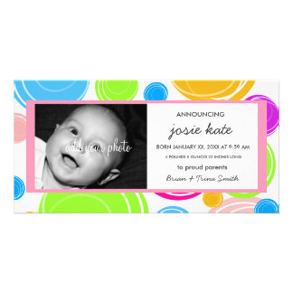 Colorful Tropical Cirlces Birth Announcement Photo Greeting Card