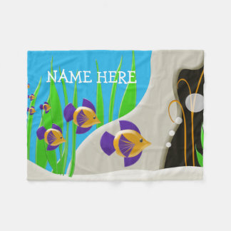 Colorful Tropical Fish Custom Kids Name Fleece Blanket