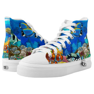 Colorful Tropical Fish Ocean High Top Tennis Shoes Printed Shoes