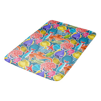 Colorful Tropical Fish Pattern 1 Bath Mat
