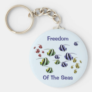 Colorful Tropical Fish Swimming Free Keyring Key Chain