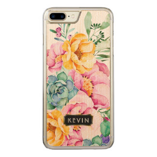 Colorful Tropical Flowers & Cactus Design 3 Carved iPhone 8 Plus/7 Plus Case