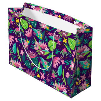 Colorful Tropical Flowers & Leafs Pattern Large Gift Bag