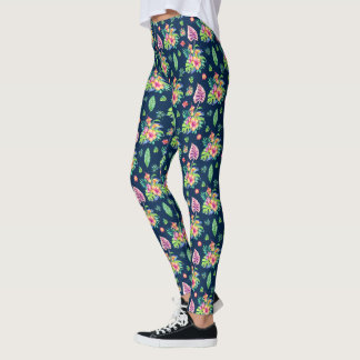 Colorful Tropical Flowers & Leafs Pattern Leggings