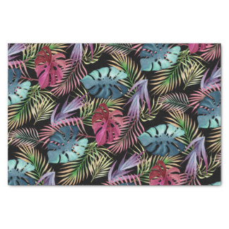 Colorful Tropical Foliage Botanical Pattern Tissue Paper