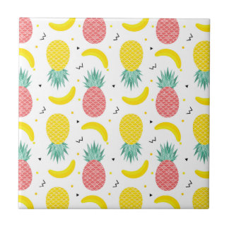 Colorful Tropical Fruit Pattern Tile