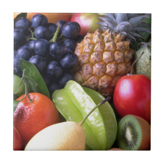 Colorful tropical fruits small square tile