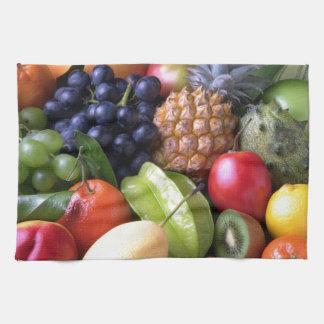 Colorful tropical fruits tea towel