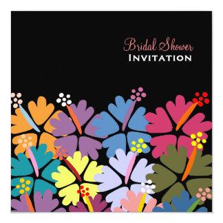 Colorful Tropical Hibiscus Black Bridal Shower 13 Cm X 13 Cm Square Invitation Card