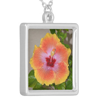 Colorful tropical Hibiscus flower Necklace