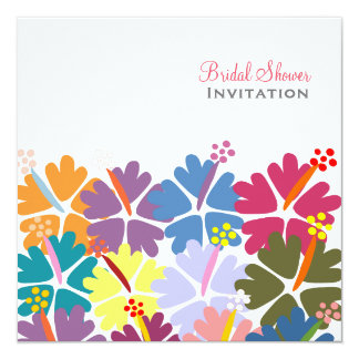 Colorful Tropical Hibiscus White Bridal Shower 13 Cm X 13 Cm Square Invitation Card