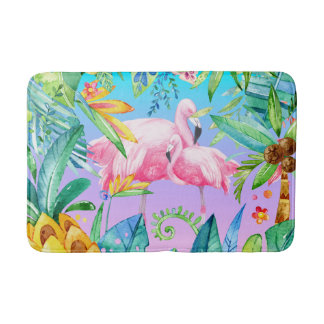Colorful Tropical Jungle With Pink Flamingos Bath Mats