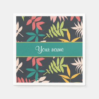 Colorful Tropical Leaves Paper Napkin
