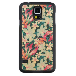 Colorful Tropical Pattern Carved Maple Galaxy S5 Case