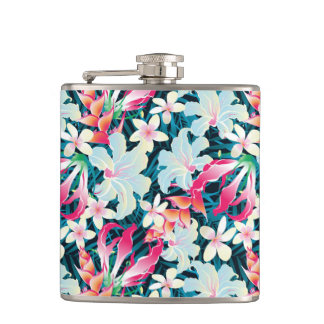 Colorful Tropical Pattern Hip Flask