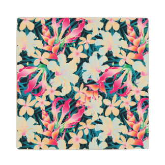 Colorful Tropical Pattern Wood Coaster