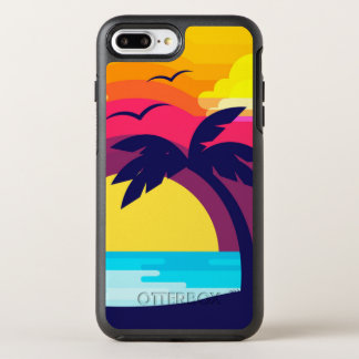 Colorful Tropical Sunset & Palm Tree   Phone Case