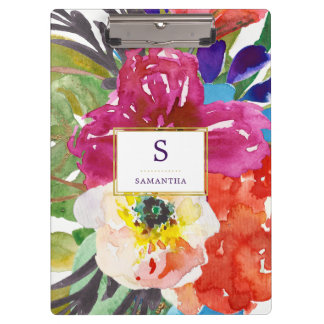 Colorful Tropical Watercolor Floral with Monogram Clipboard