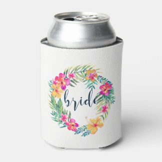 Colorful Tropical Wreath Bride Typography Can Cooler