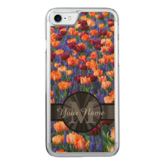 Colorful Tulip field monogrammed Carved iPhone 8/7 Case