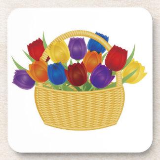 Colorful Tulip Flowers Cork Coaster