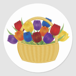 Colorful Tulip Flowers in Basket Sticker