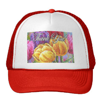 Colorful Tulip Flowers Thank You Items - Multi Cap