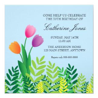 Colorful Tulips 70th Birthday 13 Cm X 13 Cm Square Invitation Card