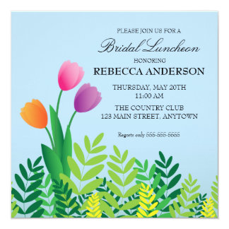 Colorful Tulips Bridal Luncheon Card