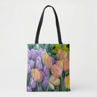 Colorful tulips bunches tote bag