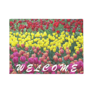 Colorful Tulips Floral Welcome Doormat