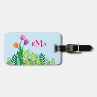 Colorful Tulips, Green Vegetation & Monogram Luggage Tag