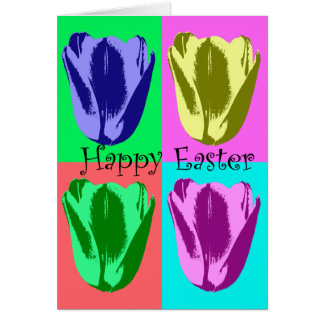 Colorful Tulips Happy Easter Happy Spring Card