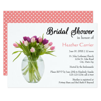 Colorful Tulips in Vase - 3x5 Bridal Shower Invite