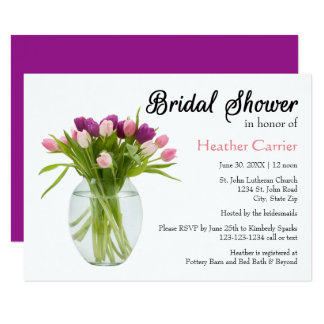 Colorful Tulips in Vase  - Bridal Shower Invite