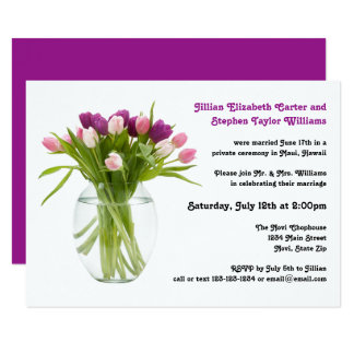 Colorful Tulips in Vase  - Wedding Announcement
