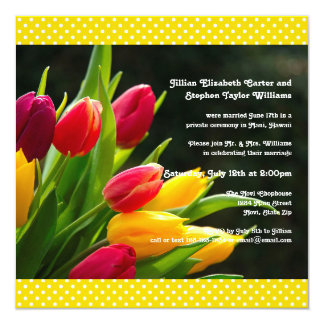 Colorful Tulips Photo -5x5 Wedding Announcement