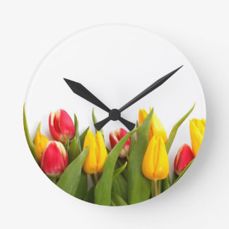 Colorful Tulips Round Clock