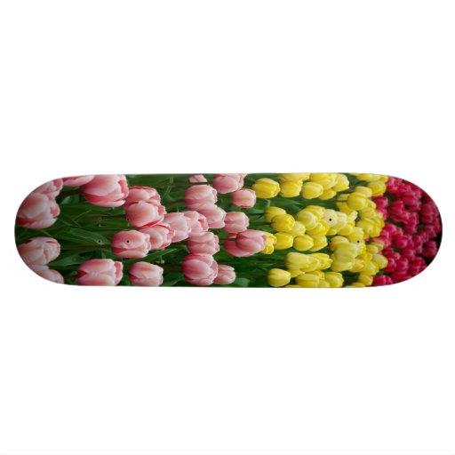 Colorful tulips custom skate board