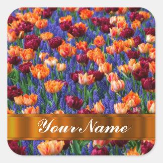 Colorful tulips square sticker