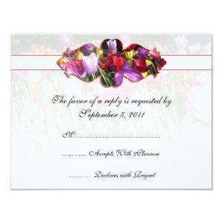 "Colorful Tulips Wedding RSVP Invite 4.25"" X 5.5"" Invitation Card"