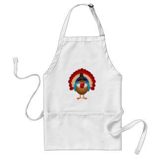Colorful Turkey with Pilgrim Hat Apron