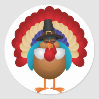 Colorful Turkey with Pilgrim Hat Sticker