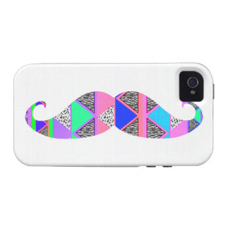 Colorful Turquoise Aztec Pattern Mustache Vibe iPhone 4 Case